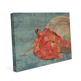 Big Hermit Crab on Blue Wall Art Print on Canvas