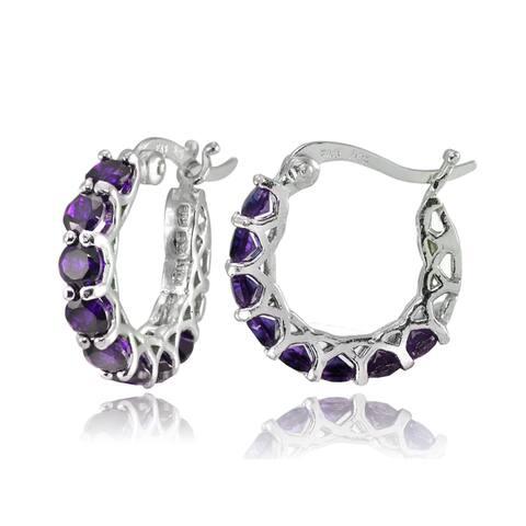 Glitzy Rocks Sterling Silver Birthstone Gemstone Small Hoop Earrings