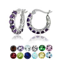 Glitzy Rocks Sterling Silver Birthstone Gemstone Small Hoop Earrings