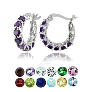 Glitzy Rocks Sterling Silver Birthstone Gemstone Small Hoop Earrings (More options available)