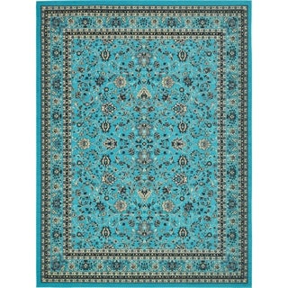 Kashan Floral Turquoise Cotton Area Rug (13' x 9'10)