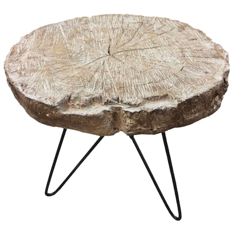 Alva Black/Natural Wood Slab End Table