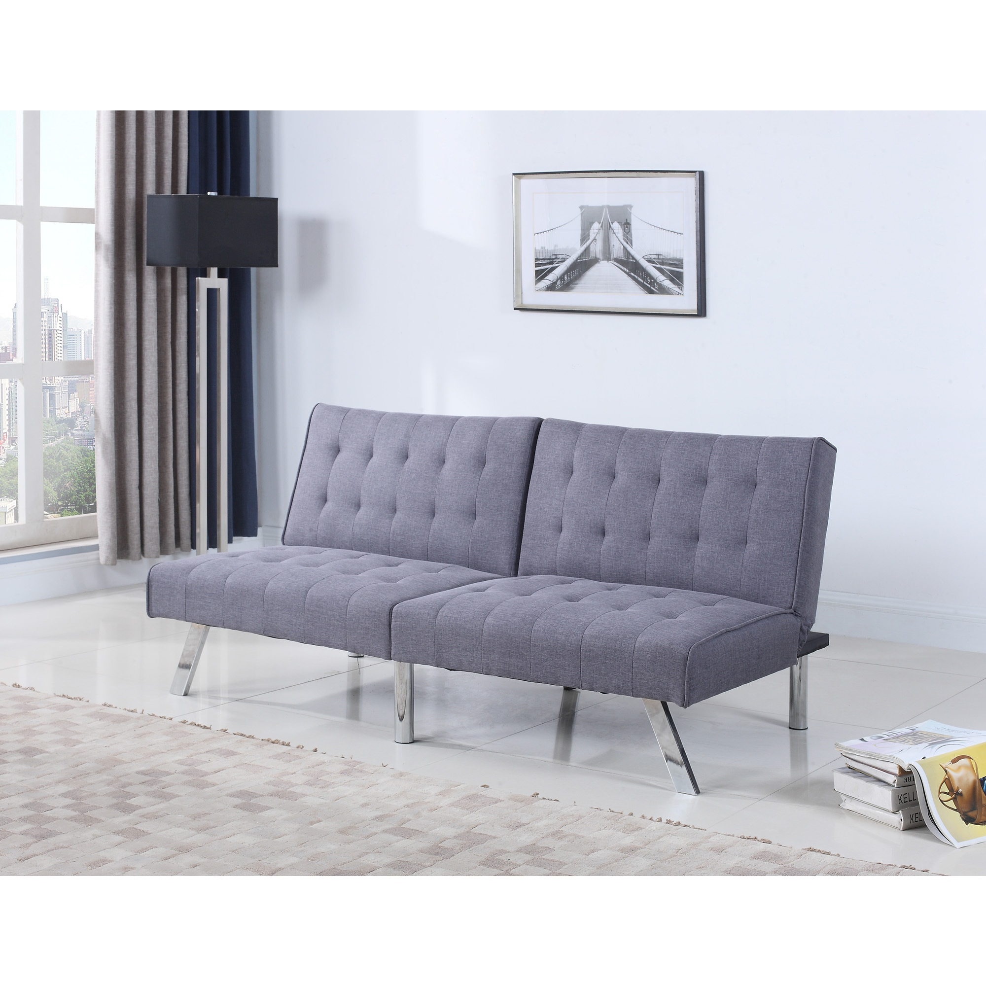 Best Master Furniture P09 Contemporary Grey Linen Adjustable Sofa Bed Futon (P09 Gray Linen)