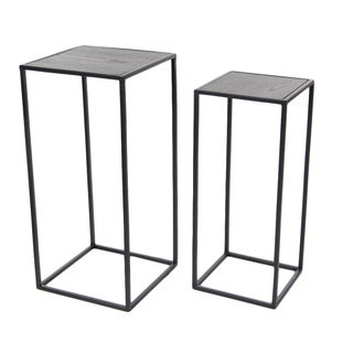 Benzara Grey Metal and Wood Accent Tables (Set of 2)