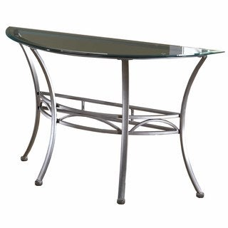 Hillsdale Furniture Abbington Console Table in Dark Pewter with Base and Glass Top