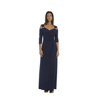 R&M Richards Nvy Cold Shoulder Gown