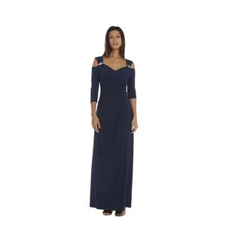 R&M Richards Nvy Cold Shoulder Gown
