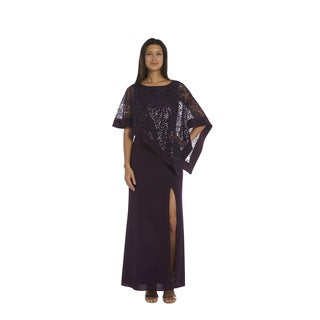 R&M Richards Plum Lace Poncho Dress