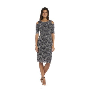 R&M Richards Navy and Taupe Cold Shoulder Dress