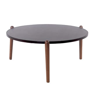 Farren Brown Recycled Leather Round Coffee Table with Walnut Legs