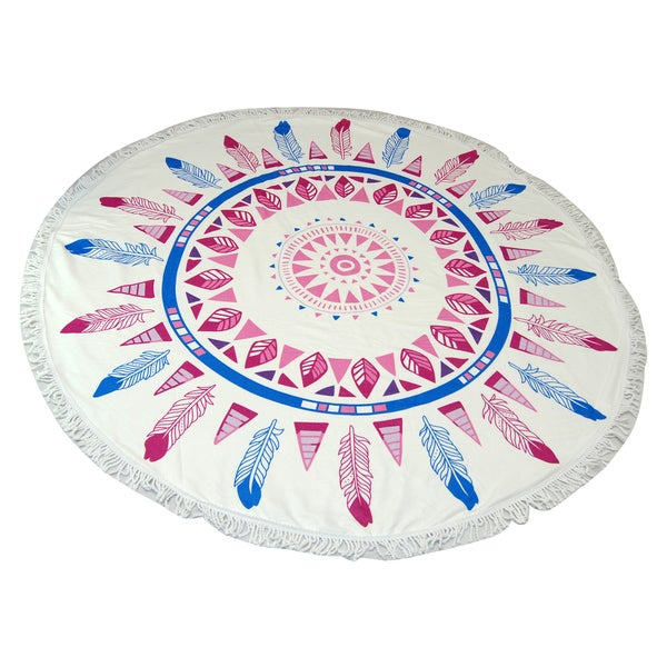 Feather Print 60-inch Round Beach Towel