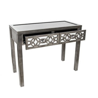 "30.25""H SilverGlam Slam Mirrored 2 Drawer Console Table"