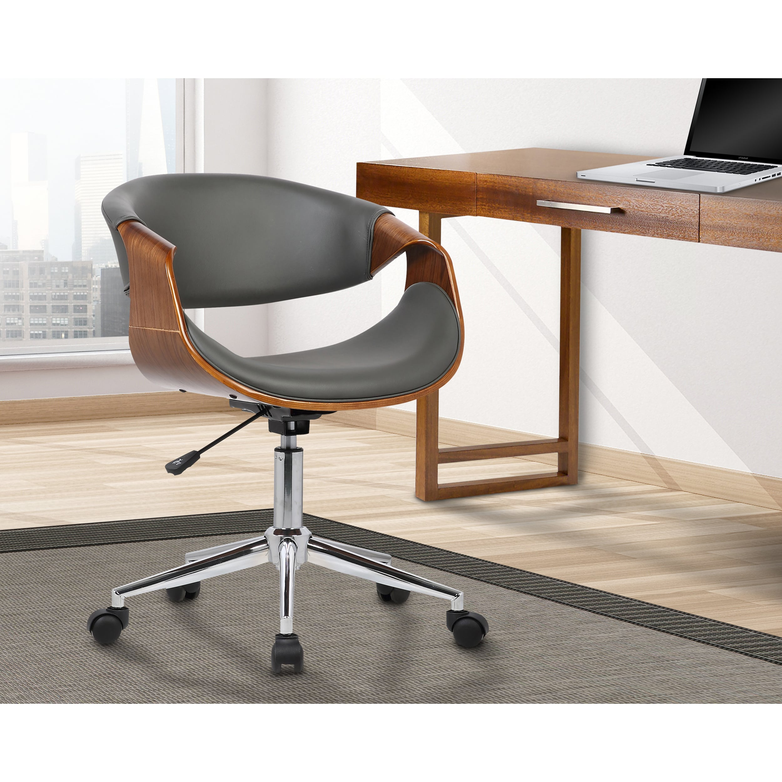 Image of: Shop Black Friday Deals On Armen Living Geneva Mid Century Office Chair In Chrome Finish With Grey Faux Leather And Walnut Vene On Sale Overstock 16326468