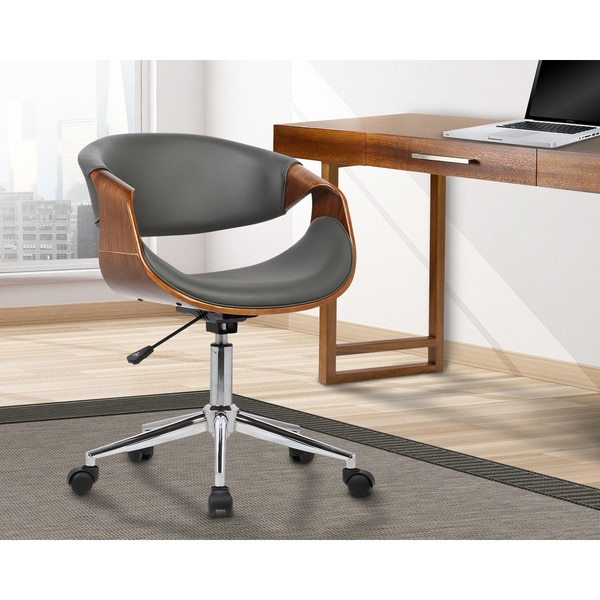 Armen Living Geneva Mid-Century Office Chair in Chrome finish with Grey Faux Leather and Walnut Vene