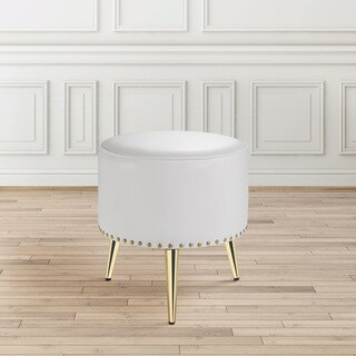 Modern Round Gold and White Upholstered Nailhead Ottoman