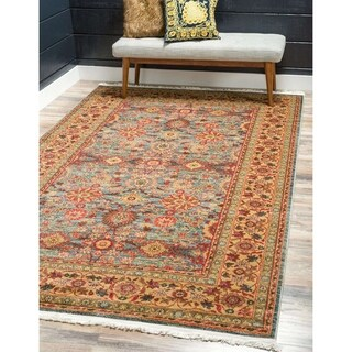Heritage Floral Blue/ Red Area Rug (10' x 13')