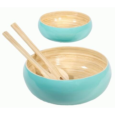 Salad-Bowls Set of 2 Bamboo Salad Bowls & Serving Spoons