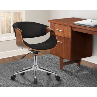 Armen Living Geneva Mid-Century Office Chair in Chrome finish with Black Faux Leather and Walnut Ven