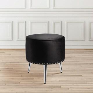 Modern Round Black Velvet Upholstered Nailhead Foot Stool Ottoman