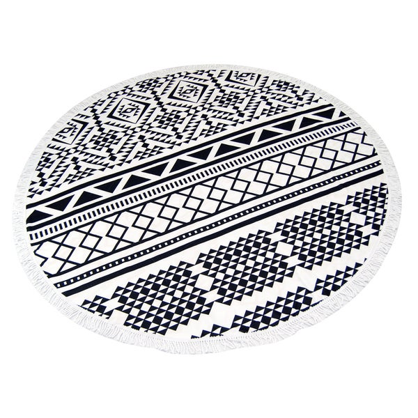 Black and White 60-inch Round Beach Towel