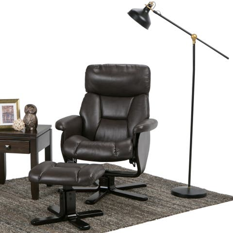 WYNDENHALL Traverse 31 inch Wide Contemporary Euro Recliner in Brown Faux Air Leather
