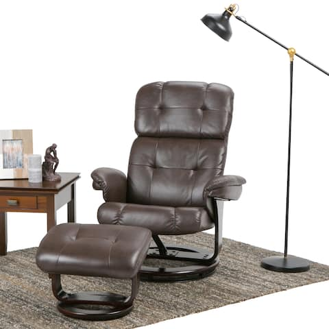 WYNDENHALL Westville 33 inch Wide Contemporary Euro Recliner in Brown Faux Air Leather