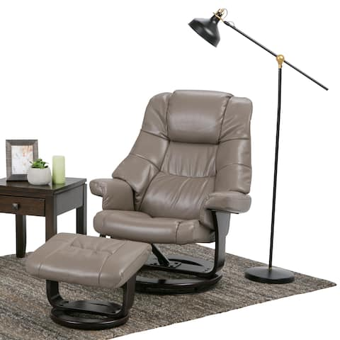 WYNDENHALL Shelburne 32 inch Wide Contemporary Euro Recliner in Taupe Faux Air Leather