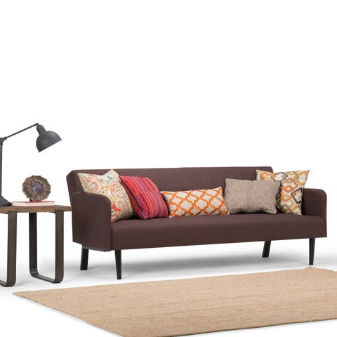 "WYNDENHALL Hudson Transitional 74 inch Wide Sofa Bed in Maroon Brown Linen Look Fabric - 74""W x 30.1""H x 33.1""D"