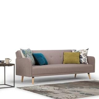 "WYNDENHALL Emma Transitional 82 inch Wide Sofa Bed in Mocha Linen Look Fabric - 82""W x  33.1""D x 31.9""H"