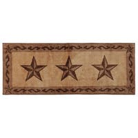 HiEnd Accents Chocolate Star Print Bath Mat Runner (24'' x 60'')
