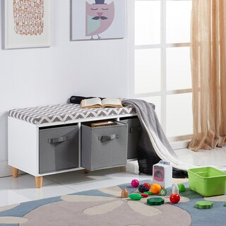 Teamson Versanora Minimalista White/Grey Storage Bench with Cushion and Cubbies