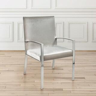 Gray Velvet Upholstered Metal Accent Chair