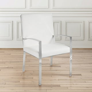 Orion White Faux Leather Upholstered Metal Accent Chair