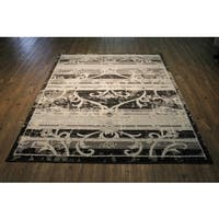 Shag Black with Silver and Beige Area Rug - 7'10 x 10'6