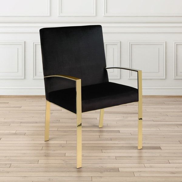 Shop Gold Metal Accent Chair With Black Velvet Upholstery
