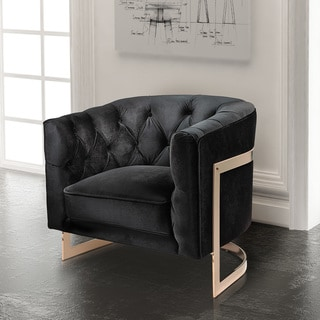 Uptown Club Valentina Black Velvet Accent Chair
