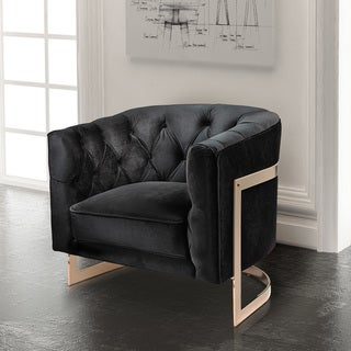 Contemporary Black Velvet Upholstered Accent Club Chair