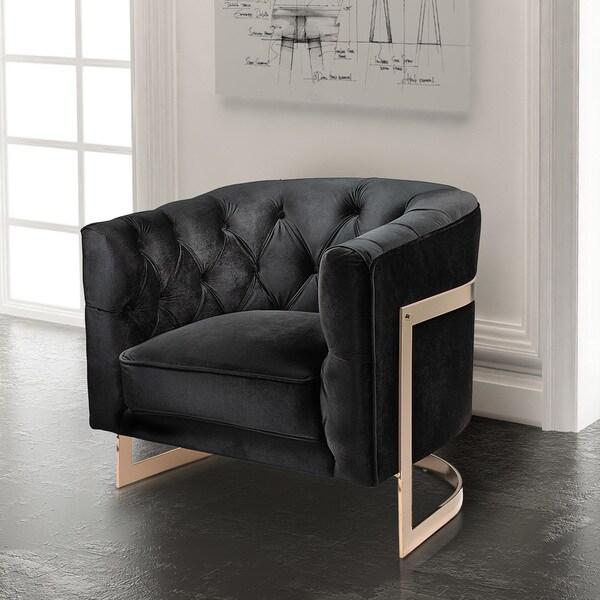 Black Klick Klack Accent Chair: Shop Contemporary Black Velvet Upholstered Accent Club