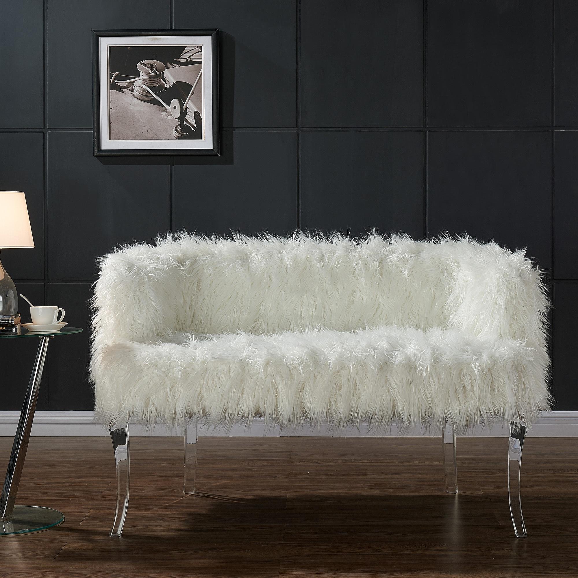 Worldwide Celia Faux Fur Acrylic Leg Settee (Celia-Settee...