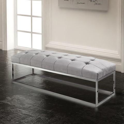 Tufted Grey Upholstered Metal Bench
