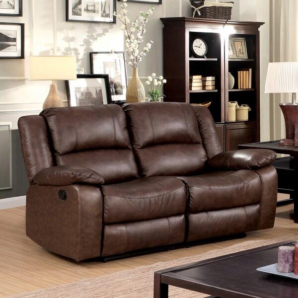 Shop Furniture Of America Revon Classic Stitched Top Grain