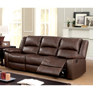 Furniture of America Revon Classic Stitched Top Grain Leather Match Brown Reclining Sofa
