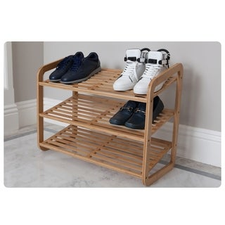 Bamboo 3 tier shoe rack