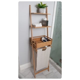 Bamboo laundry shelf with basket