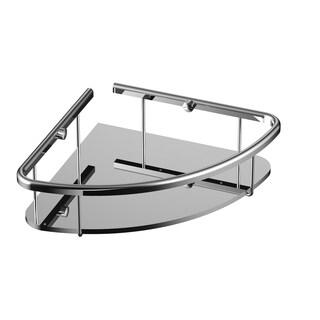 Eviva Shelfi Wall Mount Corner Glass Shelf with Brushed Nickel Hardware Finish