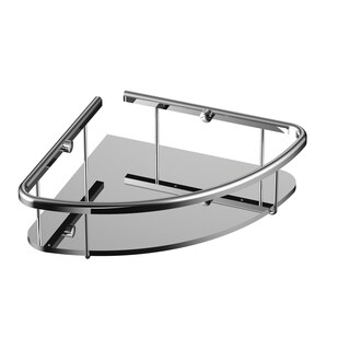 Eviva Shelfi Wall Mount Corner Glass Shelf with Chrome Hardware Finish