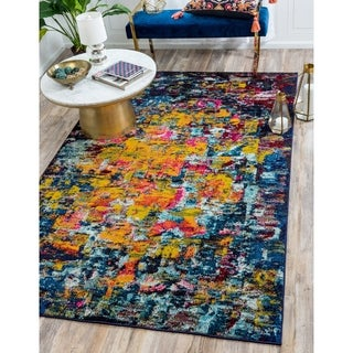 Barcelona Abstract Navy and Multicolored Area Rug (8' x 11')