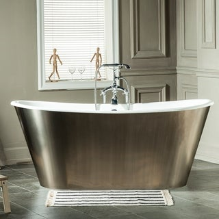 Maykke 67-Inch Woodward Cast Iron Bathtub