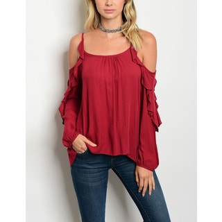 JED Women's Ruffled Off-Shoulder Burgundy Top