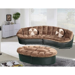 Papasan Modern-style Velvet 2-piece Sectional Sofa with Ottoman Set
